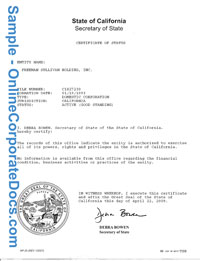 california Good Standing Certificate