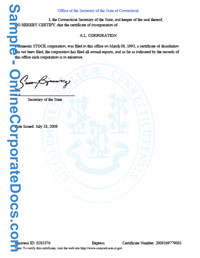 connecticut Good Standing Certificate
