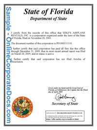 Florida good standing certificate online corporate docs inc florida certificate of good standing yelopaper Image collections