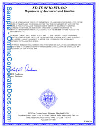 maryland Good Standing Certificate