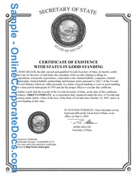 nevada Good Standing Certificate